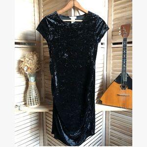 Vtg Black Velvet Maternity Dress